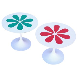 Burke Tulip Tables with Laminate Flower Motif