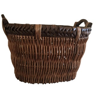 Large Wood Wicker Laundry Basket