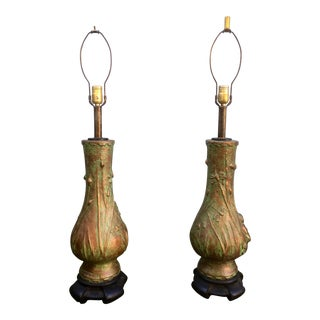 Dragonfly Asian Decorated Lamps 1950 - A Pair