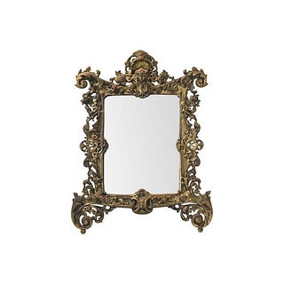 Baroque Gilded Brass Caryatid Head Mirror