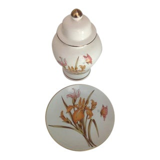 Vintage Japanese Iris Gold Trim Porcelain Ginger Jar & Plate - A Pair