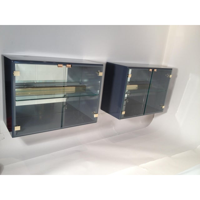 Pair of Milo Baughman for Thayer Coggin Illuminated Lacquered Floating Cabinets - Image 6 of 6