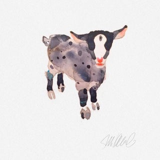 Premium giclee print of pink and grey goat