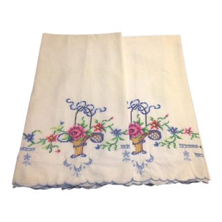 Vintage White & Multicolored Embroidery Pillowcases - Pair