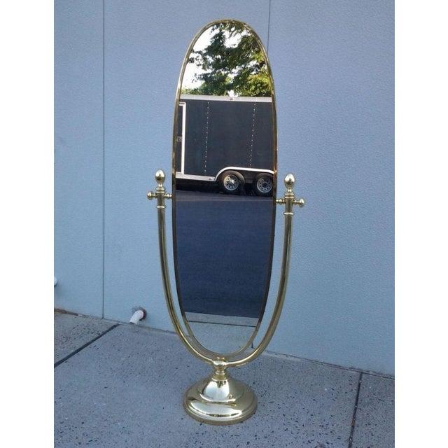 vintage italian full length brass standing mirror chairish. Black Bedroom Furniture Sets. Home Design Ideas