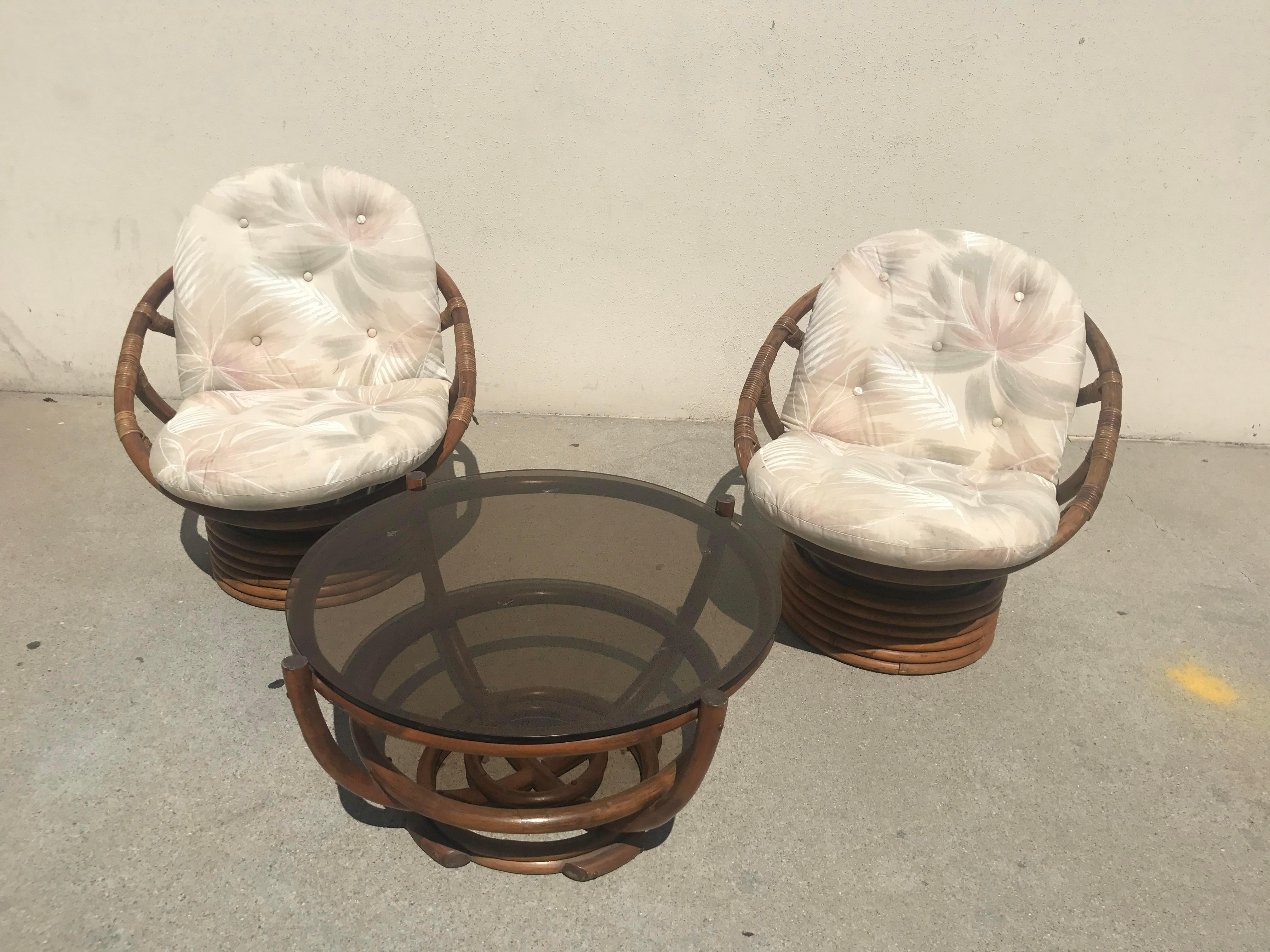 Vintage 60s Rattan Papasan Swivel Rocking Chairs U0026 Table   Set Of 3   Image  4
