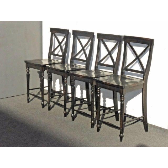 Black Modern Wood Bar Stools - Set of 4 - Image 2 of 11