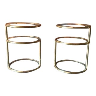 Vintage Swivel Brass Glass Side Tables - A Pair