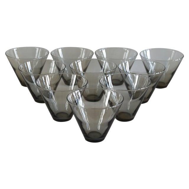 Modern Smoke Gray Cocktail Glasses - Set of 10 - Image 1 of 11