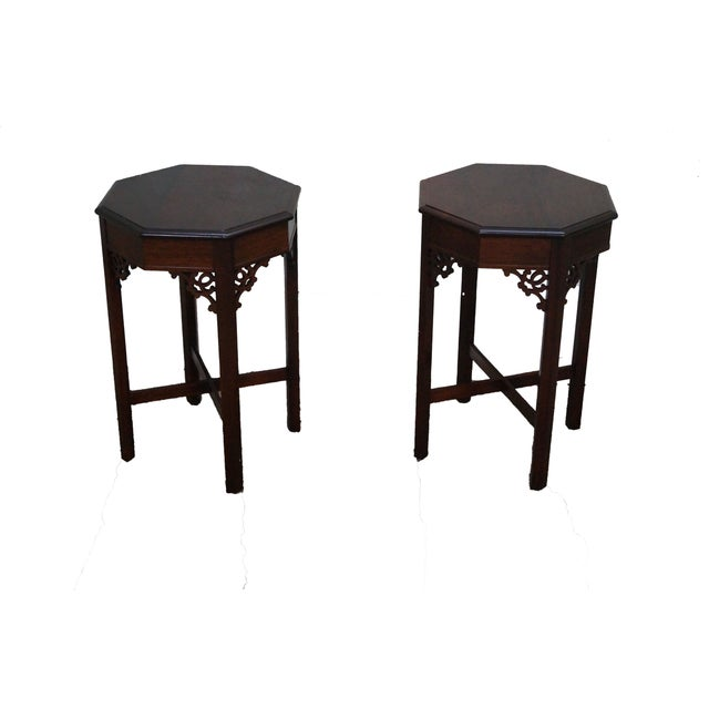 Madison Square Mahogany Chippendale Tables - Pair - Image 1 of 10