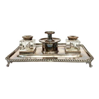 Antique English Silver Plate Inkstand With Inkwells