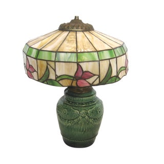 Green Majolica Angel Lamp With Floral Stained Glass Shade
