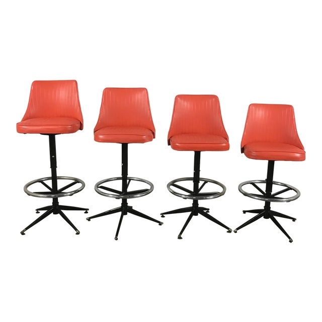 Retro Bar Stools - Set of 4 - Image 1 of 10