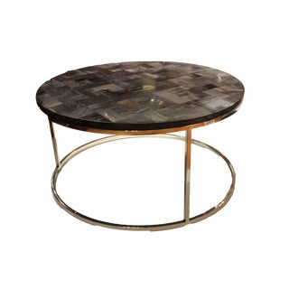 Mosaic Petrified Wood & Stainless Coffee Table