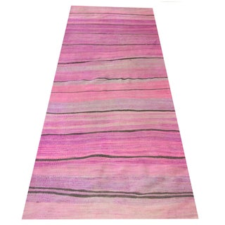 "Turkish Pink Kilim Runner Rug - 3'5"" x 9'11"