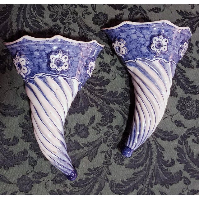 Image of Blue & White Spiral Liverpool Delftware Wall Pockets, circa 1750.