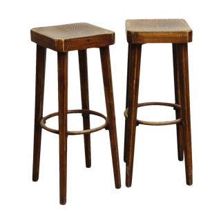 Wooden Hutton Signed Bar Stools - A Pair