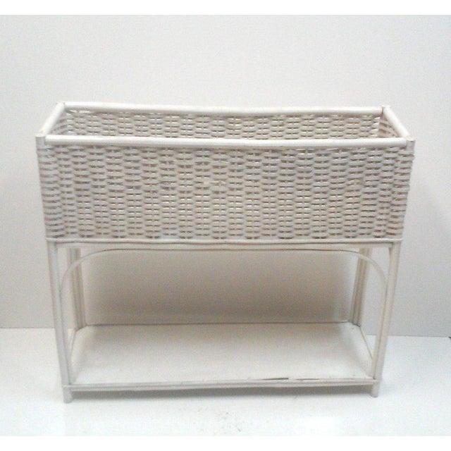 White Wicker Rectangular Planter Stand - Image 2 of 4
