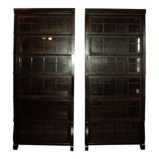 Antique Mahogany Stack Sectional Bookcases - A Pair