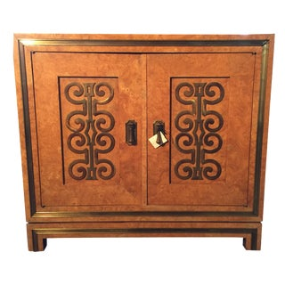 Vintage Burlwood With Brass Accents Cabinet