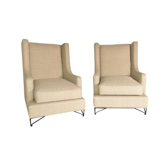 Iron Leg Wingback Lounge Chairs - A Pair