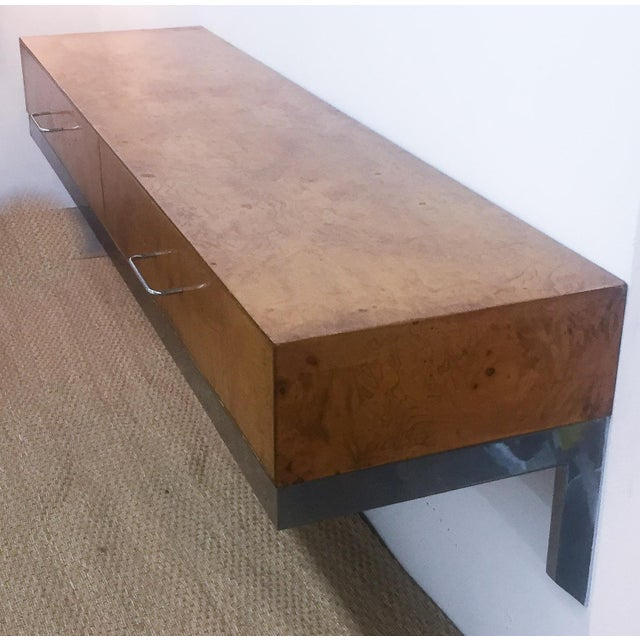 Mid-Century Burlwood Floating Console Table, Desk - Image 3 of 10