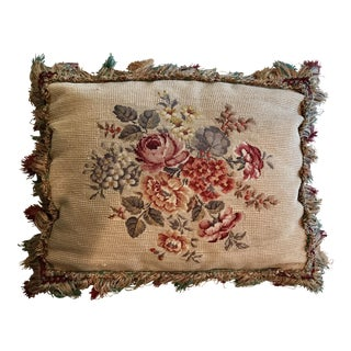 Vintage French Needlepoint Pillow