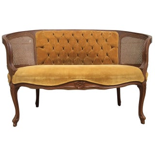 Tufted Velvet Settee in Mustard