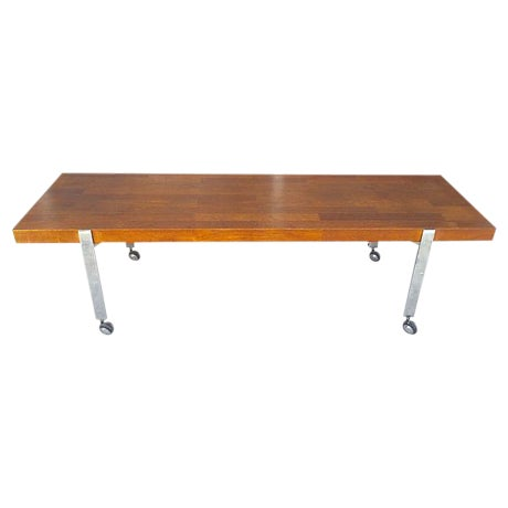 Image of Mid-Century Solid Wood and Metal Bench on Casters