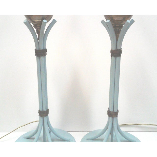 Blue Iron and Brass Table Lamps - A Pair - Image 3 of 7