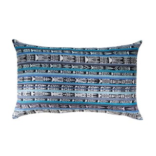 Vintage Guatemalan Cyan Ikat Pillow