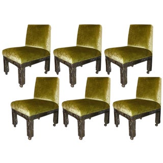 Set of Six Signed Paul Evans Sculpted Bronze Dining Chairs