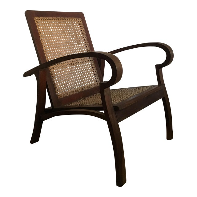 Image of Mid-Century Teak Cane Chair