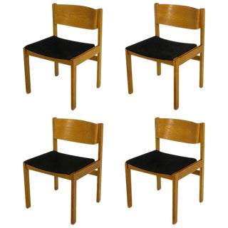 Set Four Harvey Probber Bleached & Bent Mahogany Dining Chairs