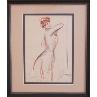 1899 Framed Original Helleu Sketch of Redhead