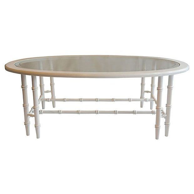 Emporium Home Waverley White Gloss Coffee Table: Oval Faux-Bamboo Coffee Table
