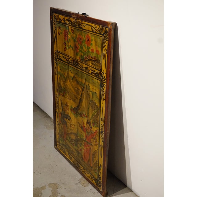 Chinese Painted Wood Panel - Image 4 of 5