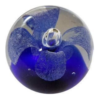 Cobalt Blue Flower Paperweight
