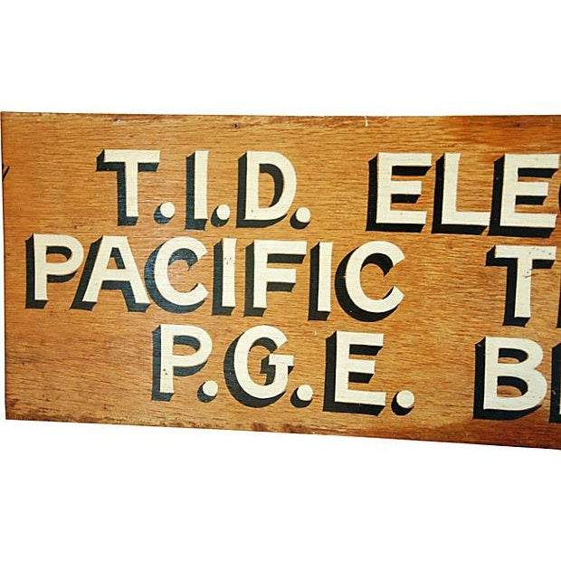 1950s Hand-Painted Wood Utility Billing Sign - Image 2 of 5