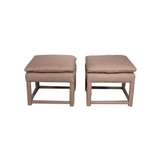 Upholstered Parsons Style Ottomans - Pair