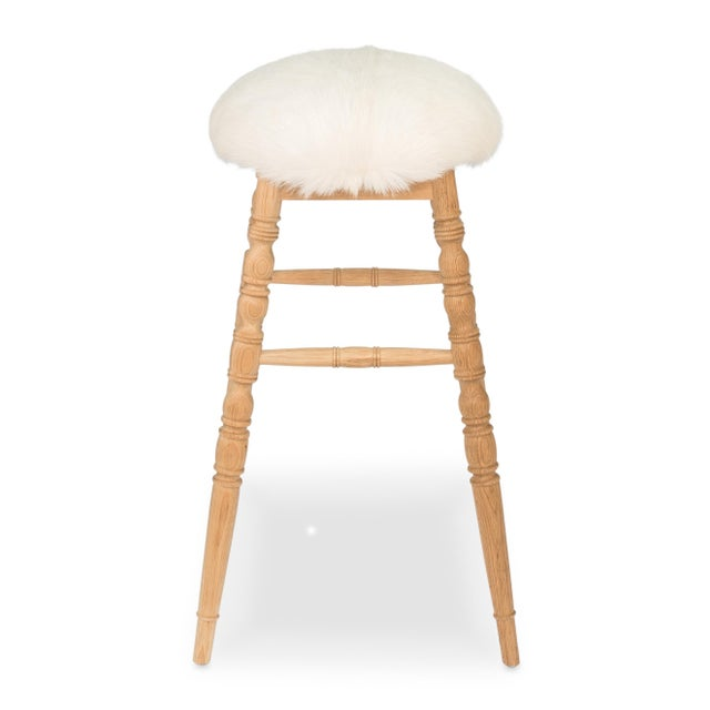 Sarreid LTD Winoma Wood & Goatskin Bar Stool - Image 3 of 6