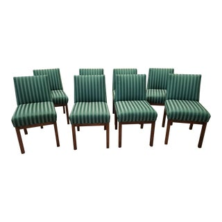1970s Directional Contract Furniture Green Striped Upholstered Dining Room Chairs - Set of 8