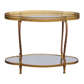 French Maison Jansen Style Brass and Mirrored Two-Tiered Side Table, 1940s