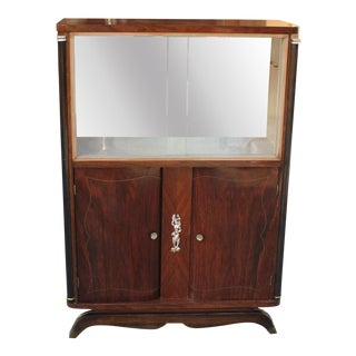 French Art Deco Exotic Macassar Ebony Bar / Display Cabinet By Jules Leleu Circa 1940s