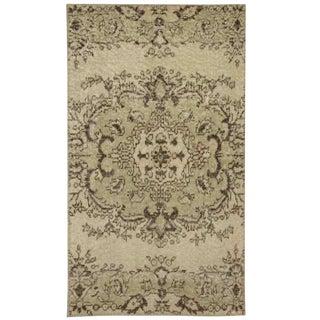 "Beige Medallion Overdyed Carpet - 2'3"" x 3'10"""