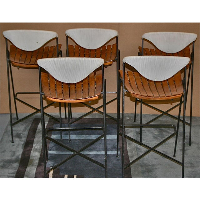 Vintage Arthur Umanoff Wrought Iron Barstools - Set of 5 - Image 4 of 11