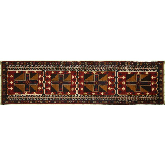 """Persian Baluch Red & Blue Rug - 2'7"""" x 9'10"""" - Image 1 of 7"""
