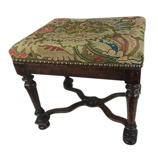 19th C. French Bench with Needlepoint Seat