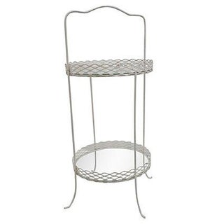 Mid-Century Mesh Metal and Glass Plant Stand