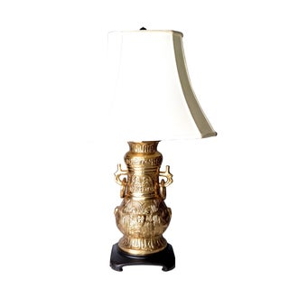Bronze and Wood Table Lamp